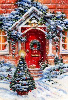 Leading Illustration & Publishing Agency based in London, New York & Marbella. Beautiful Christmas Scenes, Christmas Scenery, Christmas Door, Cozy Christmas, Christmas Past, Retro Christmas, Christmas Holidays, Christmas Decorations, Christmas Cookies