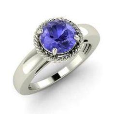 Engagement Rings - Jerusha - Tanzanite Engagement Ring in 14k White Gold (0.97 ct.tw.)