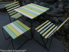 1950'S Retro Timber Slatted Iron Outdoor Garden Setting Table 2 Chairs Stool in Austinville, QLD | eBay