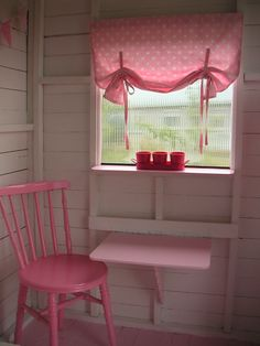 Fold-down table. This is adorable! Perfect for play house Playhouse Decor, Playhouse Interior, Outside Playhouse, Girls Playhouse, Backyard Playhouse, Build A Playhouse, Wooden Playhouse, Playhouse Windows, Playhouse Ideas
