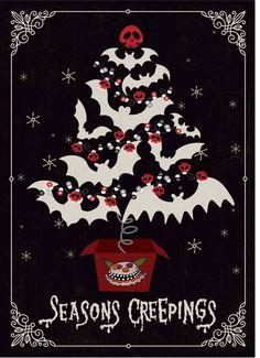 Dark Christmas, Christmas Tree Cards, Halloween Christmas, Vintage Halloween, Halloween Crafts, Happy Halloween, Christmas Time, Halloween Decorations, Christmas Humor