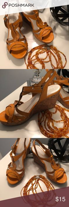 """ETIENNE AIGNER / Cork Wedges Add a pop of color to your wardrobe with this cute, and comfortable, cork wedges by Etienne Aigner. Color is """"Tangerine"""", orange/yellow. Style: Villa. Great style to wear with jeans, dress, shorts...Used, but in good condition with minor wear. Etienne Aigner Shoes Wedges"""
