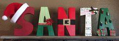 SANTA Block Wooden Letters Santa Letters by KidMuralsbyDanaR