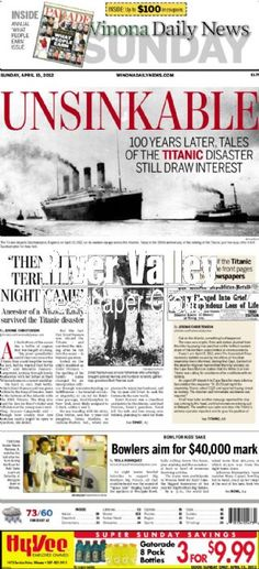 Titanic 100-year anniversary. 4/15/12 Trivia Of The Day, Rms Titanic, Modern History, Photo Archive, Daily News, Ghosts, Social Studies, Newspaper, Anniversary