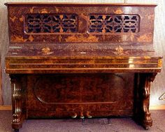 1877 Steinway upright piano, French burled walnut case