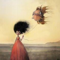 En fisk til Luna Art Illustrations, Book Illustration, Master Of Fine Arts, Distortion, Picture Books, Funny Art, Illustrators, Fantasy Art, Book Art