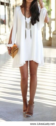 Breezy white dress with fab necklace