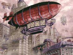 Steampunk airship drawing. #steampunk #steampunkart #airship http://www.pinterest.com/TheHitman14/artwork-steampunked/