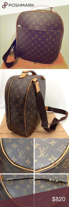 Authentic RARE Louis Vuitton Sac a Dos Backpack This stylish, RARE shoulder bag is finely crafted of classic LV monogram on toile canvas. The bag features a wide frontal pocket, vachetta cowhide leather trim and a sturdy top handle with an adjustable long nylon shoulder strap and polished brass hardware. The 3/4 wrap around zipper opens to a cocoa fabric interior with patch pockets and pen holders. Strap is designed so that the bag can be worn multiple ways. Comes with a dustbag. Zipper is a…