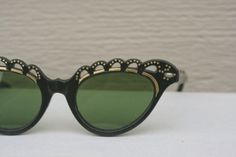 Vintage 1950's Cat Eye Sunglasses Black Gold Scallop Lace Topped