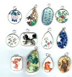 Lot of 12 Wholesale Pottery Ming Chinese Shard Pendants Lot 18 - pinned by pin4etsy.com