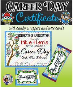Certificate fun honor roll 1 honor roll certificate and career day certificate with candy bar wrappers and note cards yadclub Image collections