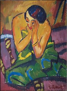 Reflective Woman (Sinnende Frau) ~ Karl Schmidt-Rottluff (1912. Oil on canvas. Brücke-Museum, Berlin - Expressionism in Germany and France