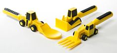 Even the youngest child will animate these construction machines! Ideal for going out to eat, extending productive time at the table, encouraging those not-so-favorite foods, or just for fun! Set includes the award-winning bulldozer pusher, forklift fork,