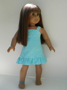 American Girl Doll Clothes  Sundress and Anklet by 18Boutique, $18.00