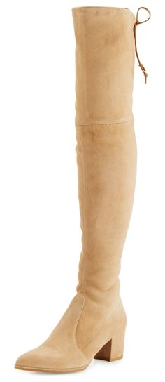 "Thighland Suede Over-The-Knee Boot by Stuart Weitzman. Stuart Weitzman suede over-the-knee boot. 26""H stretch shaft with leather tie; 13"" circumference. 2.3"" covered chunky..."