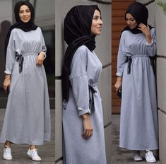 modern hijab long dress hijab tips Hijab Casual, Hijab Chic, Hijab Outfit, Hijab Dress, Swag Dress, Abaya Fashion, Muslim Fashion, Fashion Dresses, Hijab Styles