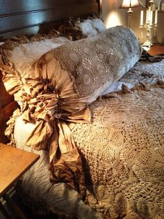 King Shabby Tattered Duvet with Doilies and Ruffles