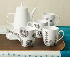 Hand painted mugs - whole tea set