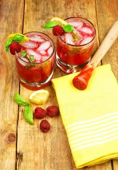 Raspberry Limoncello Cocktail | For 1 cocktail: 1 lemon, 4 basil leaves, roughly torn, 6-8 raspberries, 1/2 teaspoon superfine sugar, optional*, 1/2 ounce limoncello, 1 ounce Citron vodka, champagne, to top off, ice.
