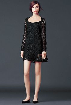 Black lace dress. Dolce & Gabbana Woman's Apparel - Collection Fall Winter 2014 2015: