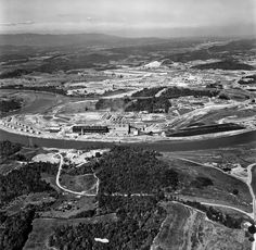 """1945 K-25 Plant Aerial Oak Ridge Tennessee. ORNL has digitized its photography archives. From 1943-45, """"Oak Ridge hosted several uranium separation technologies"""" like the Y-12 electromagnetic separation plant, and the K-25 and K-27 gaseous diffusion plants. There was also S-50 thermal diffusion plant, but the X-10 was used later for plutonium production. DOE Photo #20 by Ed Westcott"""
