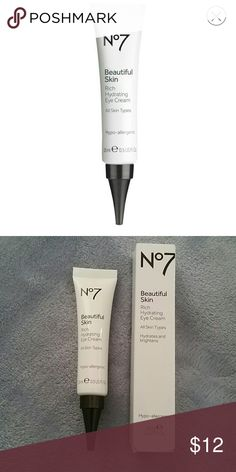 No 7 Beautiful Skin Rich Hydrating Eye Cream Provides rich, hydrating nutrients for healthy-looking, bright and beautiful eyes. Fragrance-free and packed with Pro-Vitamin B5, Vitamins C and E, after four weeks of use, skin around the eye is soft and smooth and looks more radiant. No 7 Makeup