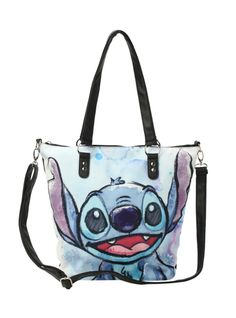 Black back with a large image of Stitch's face on one side. Inside has a zipper pocket. Zipper closure.