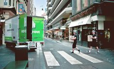 Office Removalists in Melbourne. Homemove furniture removals team doing Abbey Road in a picturesque Melbourne laneway. Moving boxes never looked so much fun! House Removals, House Clearance, Office Moving, Melbourne Street, Street Art, Street View, Moving Furniture, Moving Boxes, Abbey Road