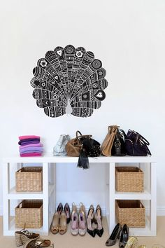 Love the peacock decal by Trevor Mark Farnell Ede and also the wicker baskets. Been wanting some for ages! Peacock Wall Art, Pretty Room, Love Your Home, Holiday Wishes, Wall Treatments, Cool Walls, Wall Wallpaper, Cool Artwork, Organization