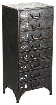 Industrial Loft 8 Drawer Rustic Iron Tall Dresser - transitional - Dressers Chests And Bedroom Armoires - Kathy Kuo Home