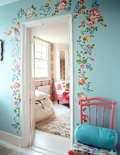 Decoration...I love the stenciled & painted flowers.Perfect for a bedroom.