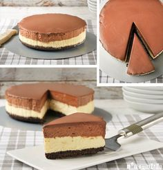 Cheesecake with chocolate mousse and oreo base. No Bake Desserts, Just Desserts, Delicious Desserts, Dessert Recipes, Yummy Food, Cake Cookies, Cupcake Cakes, Cupcakes, Yummy Treats