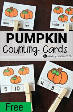 Have fun with counting, numbers, and number words with these free pumpkin counting cards! Work on counting, numbers, and number words this fall with these fun and free pumpkin themed counting cards! Kindergarten Centers, Preschool Math, Math Centers, Pumpkin Preschool Crafts, October Preschool Crafts, Fall Preschool Activities, Kindergarten Freebies, Dinosaur Crafts, Pumpkin Crafts