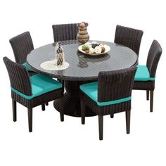 Miseno MPF-VNCE60KIT6C Mediterranean 7-Piece Aluminum Framed Outdoor Dining Set with Round Glass Tabletop and Side Chairs (