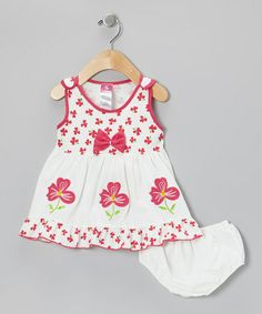Take a look at this White & Pink Floral Bow A-Line Dress & Diaper Cover - Infant by Lele for Kids on #zulily today!