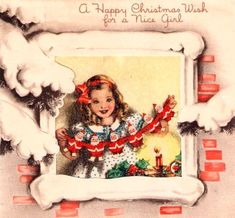 Girl looking out window holding paper Santa dolls Christmas Card Images, Vintage Christmas Images, Christmas Graphics, Retro Christmas, Christmas Greeting Cards, Christmas Greetings, Vintage Images, Christmas Girls, White Christmas