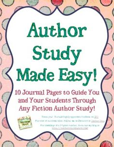 Author Study Made Easy Reading Groups, Reading Skills, Teaching Reading, Writer Workshop, Reading Workshop, Library Lessons, Library Ideas, Authors Purpose, Sequencing Activities