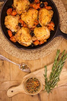 A one-pot wonder: Baked chicken thighs with pancetta, olives, and cherry tomatoes.