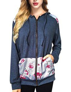 03f14ef0c Dresswel Women Floral Print Stitching Drawstring Casual Zipper Hoodie Tops  $17.99 #dresswel #women #