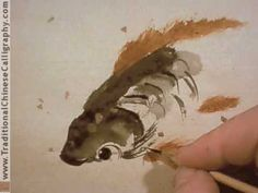 """Raggedy Chinese Painting. """"Little Brown Trout"""" Fish Birds Flowers and Mo..."""
