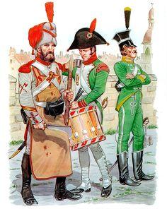 Regno d'Italia - • Pioneer sergeant, Grenadiers, Italian 1st Line Infantry, 1806  • Drummer, Fusiliers, Italian Line Infantry, 1806  • Trooper, Italian 1st Chasseur à cheval, 1806  Mike Chappell