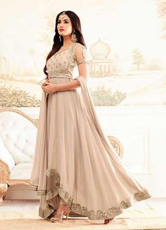 Creamish Embroidered High Low Anarkali