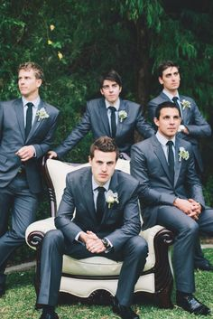 dark grey suits - light grey dress shirts - black ties