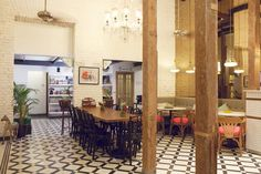 Abode Bombay - Boutique Hotel - Mumbai India - by Sian Pascale of Young Citizens - lobby black and white tiles heritage bronze mirror Black And White Tiles, Black White, Hardwood Furniture, Ace Hotel, Mumbai, Interior Architecture, My House, Art Deco, Design