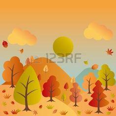 krajina%3A+Autumn+landscape.+Illustration+vector.