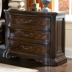 Online shopping bargain Evelyn 3 Drawer Nightstand by Astoria Grand Hooker Furniture, Art Furniture, Furniture Styles, Accent Furniture, Antique Furniture, Dark Mahogany, 3 Drawer Nightstand, End Tables With Storage, Wood Dust