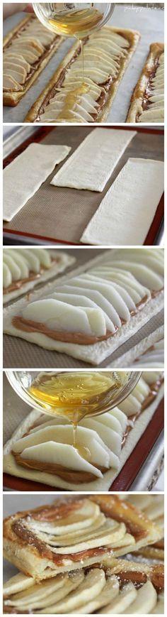 Honeyed Apple Peanut Butter Tart #apple #peanutbutter #tart