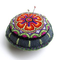 Flower Pincushion - Embroidered Pincushion - Punchneedle Pincushion - Needle Punch Embroidery Pin Cushion - Flower Motif