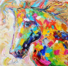 Original Horse portrait palette knife painting by Karensfineart